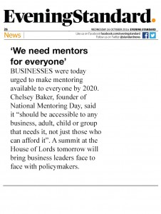 Evening Standard - Everybody needs mentors