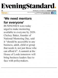Evening Standard - Everybody needs mentors